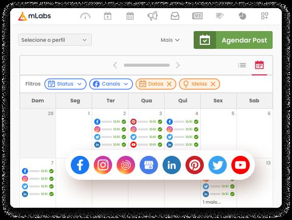 Imagem mostra a tela de calendário da mLabs com posts programados para diversas mídias sociais.