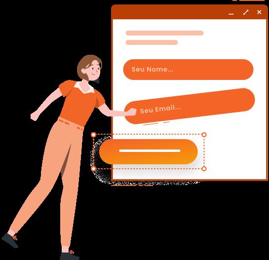 Imagem traz ilustração de um formulário para captação de leads tendo seus campos posicionados por uma personagem ilustrada
