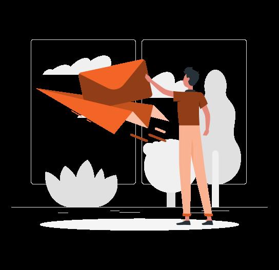 Imagem traz ilustração de um personagem segurando uma carta e colocando ela sobre um avião de papel.