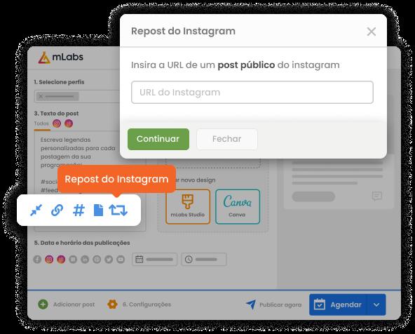 Imagem mostra tela de agendamento de posts da mLabs com destaque para o botão Repost do Instagram e caixa para inclusão da URL do post que será republicado.