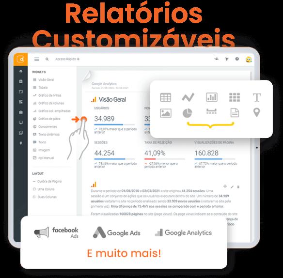 Imagem mostra os relatórios customizaveis da DashGoo by mLabs